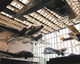 Planes of the America by Air exhibit in Gallery 102 at the National Air and Space Museum.
