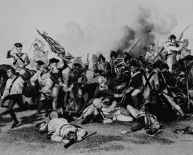 In Battle of Camden: Death of De Kalb, artist Alonzo Chappel shows the British overrunning de Kalb's position as the baron lays mortally wounded.