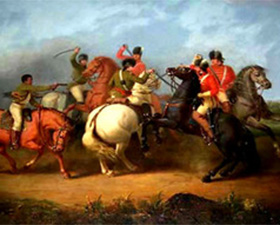 In The Battle of Cowpens, artist William Ranney depicts Colonel William Washington in the thick of the final cavalry fight.