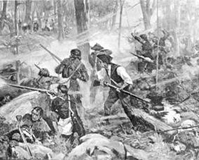 In The Battle of Kings Mountain, artist F.C. Yohn depicts colonial riflemen advancing on the Loyalist position.