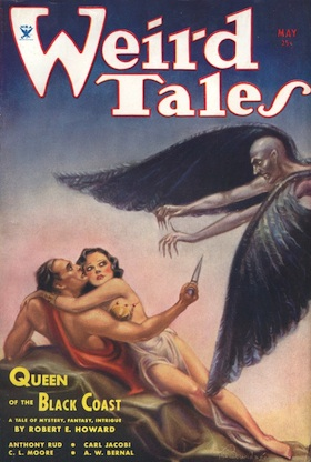 Weird Tales, May 1934 issue, featuring Robert E. Howard's Conan in Queen of the Black Coast.