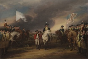In The Surrender of Lord Cornwallis at Yorktown, artist John Trumbull depicts Benjamin Lincoln awaiting the sword of Charles O'Hara.